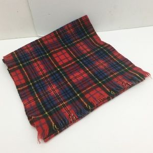 Unisex Scarf Red Blue Plaid Wool Scotland Vintage